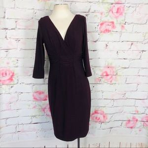David meister 3/4 sleeve purple sheath dress